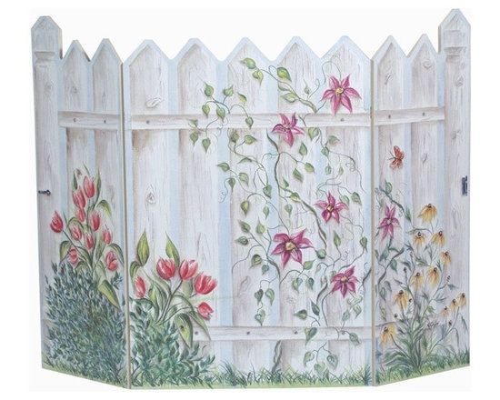 """Stupell Industries - Floral Picket Fence 3 Panel Decorative Fireplace Screen - Decorative and functional. Fire screen can be used as a wall plaque. It can lay flat. Made in USA. Original Stupell art. 44 in. W x 31 in. H (Approx.). 0.5 in. ThickA fireplace screen from """"The Stupell Home decor Collection"""" will be the focal point of any room and the beautiful color and design will immediately enhance your hearth and it's surroundings. Both functional and decorative, this one of kind screen will keep your fireplace out of sight when it's not in use. This piece is handcrafted from original artwork by English muralist Julie Perren. A lithograph is laminated on sturdy 1/2'' thick mdf fiberboard and the sides are hand painted. The item is already assembled in the box and ready to be put in front of the fireplace."""