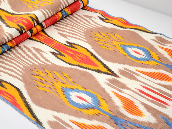 Multicolored Ikat Fabric by the Yard by SilkWay eclectic-fabric