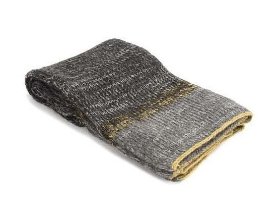 Belle & June - Grey Wool Throw with Yellow Trim Throw - You'll want to pull the wool over your own eyes and dive into the divine essence of this warm and fuzzy throw woven with shades of gray to form an ombré pattern, perked up by hints of yellow. Its chic color scheme and ecofriendly, recycled fibers are enough to start a new trend in your home, or serve as an on-trend housewarming gift.