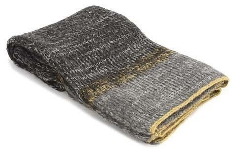 Grey Wool Throw with Yellow Trim Throw transitional-throws