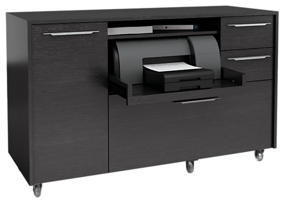 Format Mobile Credenza, Black Oak - Contemporary - Storage Units And Cabinets - by SmartFurniture