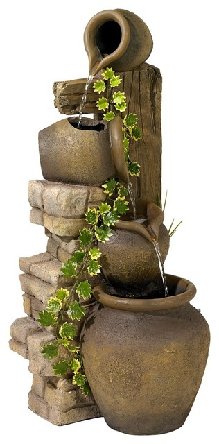 Three Rustic Jugs Cascading Fountain mediterranean-outdoor-fountains-and-ponds
