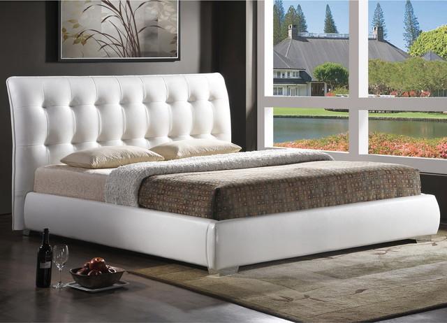 Baxton Studio Jeslyn White Tufted Headboard Modern Bed Contemporary