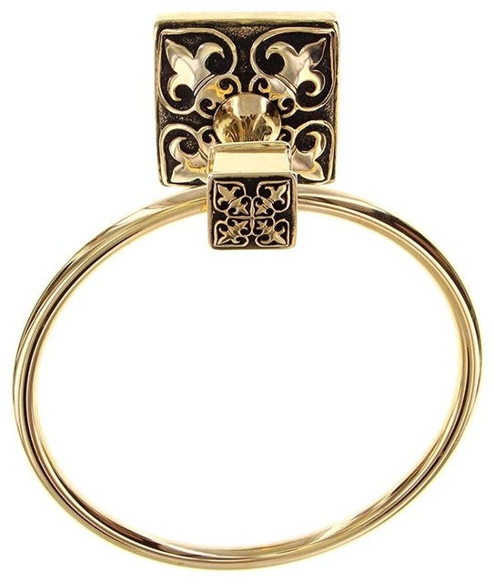 Fleur De Lis Towel Ring Antique Gold Traditional Towel Rings By Vicenza Designs