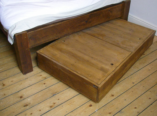 Chunky reclaimed wood under bed storage traditional for Wooden box bed image