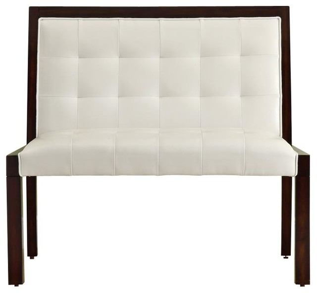 Monarch Specialties Transitional Solid Wood Bench in Cappuccino, White traditional-benches