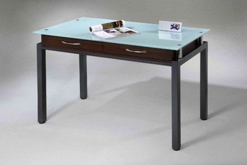 Writing Desk with Glass Top Modern Desks And Hutches