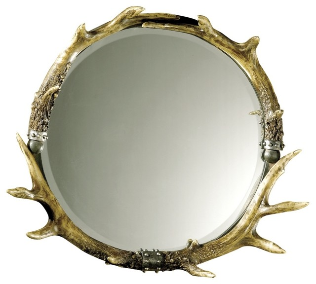 Decorative Wall Mirror Lamps Plus : Rustic lodge stag horn faux antler quot wide wall mirror