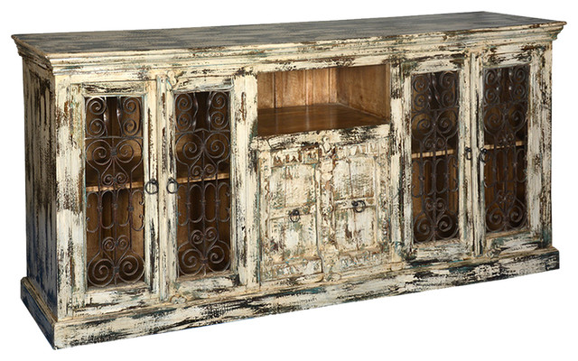 Distressed White Finish Hardwood & Iron Buffet Sideboard