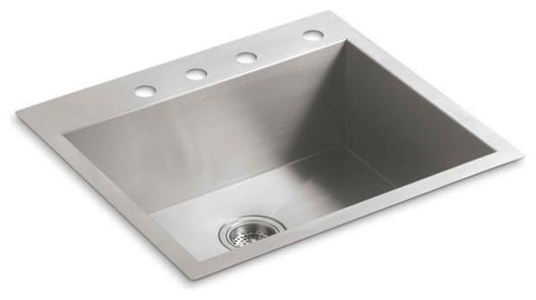 KOHLER Kitchen Vault Undermount Stainless Steel 25x22x9.3125 4-Hole ...