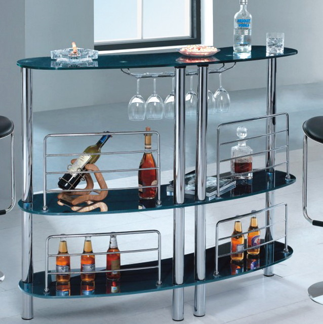 Modern Bar Table with Black Shelves modern-indoor-pub-and-bistro-tables