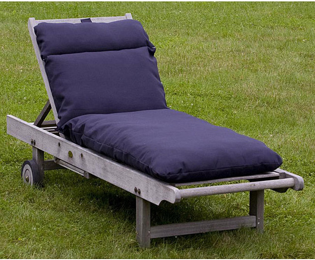 Outdoor navy blue chaise lounge cushion contemporary for Blue outdoor chaise lounge