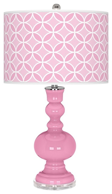 Contemporary Pale Pink Circle Rings Apothecary Table Lamp contemporary-table-lamps