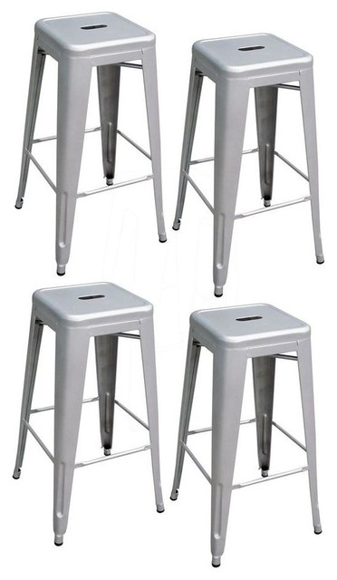 AmeriHome 30 Inch Silver Metal Bar Stools Set of 4  : industrial bar stools and counter stools from www.houzz.com size 372 x 640 jpeg 39kB
