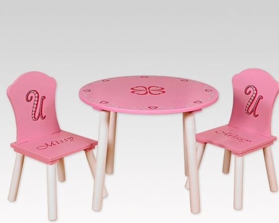Kids Furniture - An elegant round table with equally elegant chairs, the Missy Couture Table + 2 Chairs set is a must for girls who love to dress-up and host tea parties. When it's not teatime, play with toys, work on projects, or simply read a book at this lovely table.
