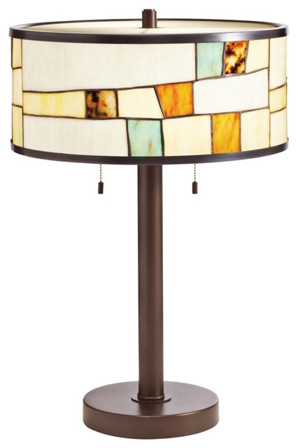 arts and crafts mission kichler mihaela tiffany style shade bronze table lamp modern lamp. Black Bedroom Furniture Sets. Home Design Ideas