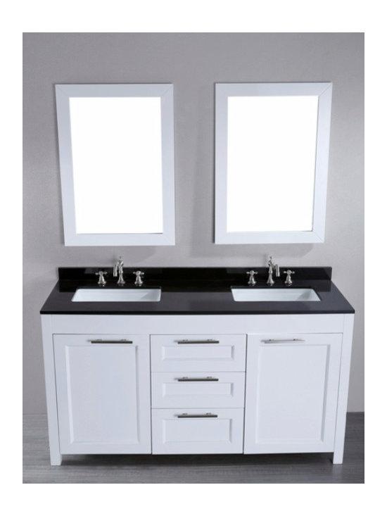 """Bosconi SB-267 Contemporary Double Vanity (White) 60""""W x 21""""L x 34""""H -"""