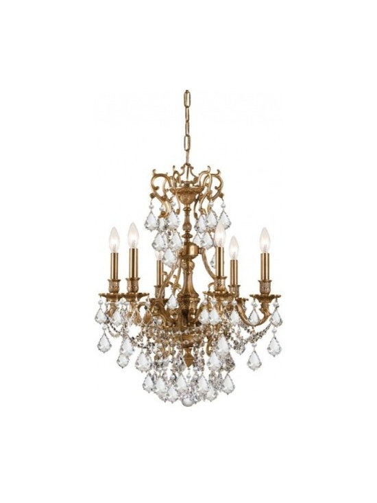 Yorkshire 6 Light Clear Crystal Chandelier - The Yorkshire Collection is offered in our bestselling Aged Brass finish. Whether you choose clear crystal or golden teak crystal, the Yorkshire's timeless design will help enhance any setting.