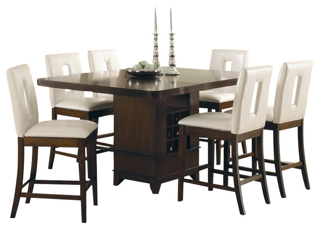 Homelegance Elmhurst 7 Piece Counter Height Dining Table Set In Cherry Tran