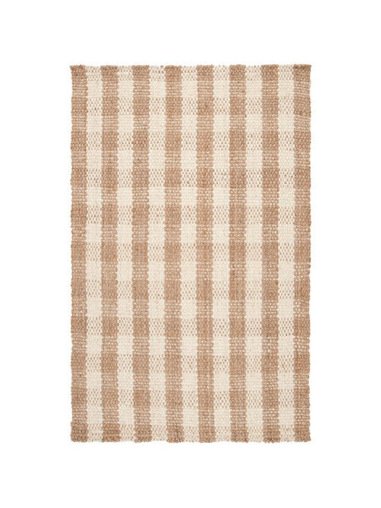 Natural Fiber Rugs & Carpets - Made of 100% jute.  Cream and natural colored jute plaid rug.  Offered in standard and custom sizes.  Purchase from Hemphill's Rugs & Carpets Orange County, CA www.RugsAndCarpets.com