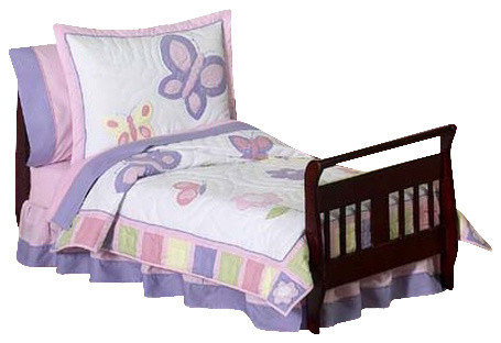 Butterfly Pink and Lavender Toddler Bedding Set contemporary-kids-bedding