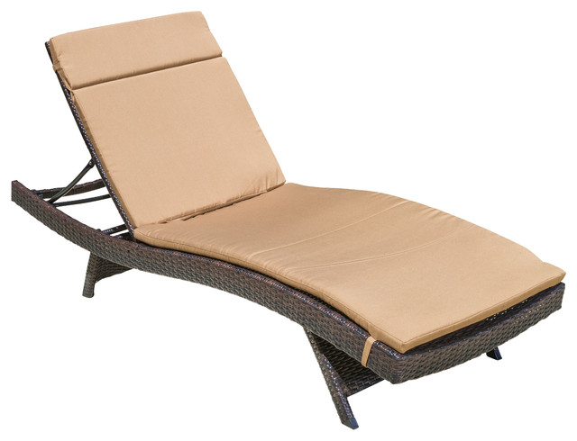 Lakeport Outdoor Adjustable Chaise Lounge Chair w/ Colored Cushion, Caramel contemporary-outdoor-chaise-lounges