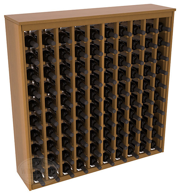 100 Bottle Deluxe Wine Rack in Redwood with Oak Stain + Satin Finish contemporary-wine-racks