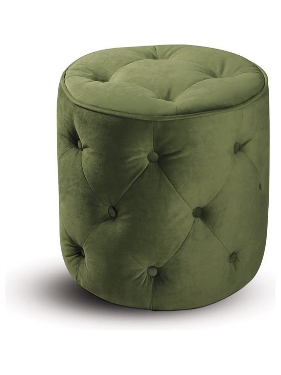 Ave Six Curves Tufted Round Ottoman in Spring Green Velvet - This gorgeous ottoman is the perfect accent piece in a living room or bedroom. The unusual tufted details and green velvet upholstery are sumptuously sophisticated details.