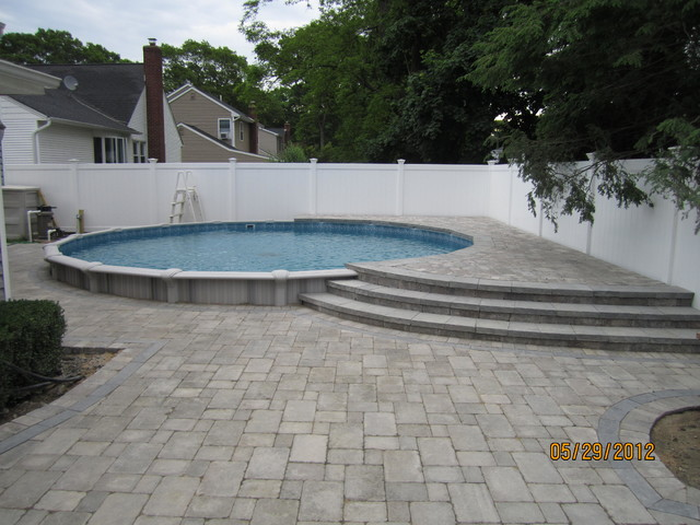 Semi Inground Swimming Pool Designs divine simple landscaping design ideas for nice above ground pool area and lawn with small kids Image From Httpsthouzzcomsimgsc291926902e55230_4 0502home Designjpg Semi Inground Pool Design Pinterest