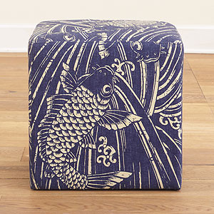 Indigo Koi Fish Upholstered Cube  ottomans and cubes