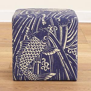 Indigo Koi Fish Upholstered Cube footstools-and-ottomans