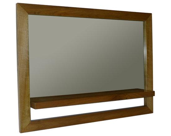 Gingko - Horizontal Shelf Mirror, Dark - Mirror with shelf.  Simple yet elegant interplay of positive and negative space.