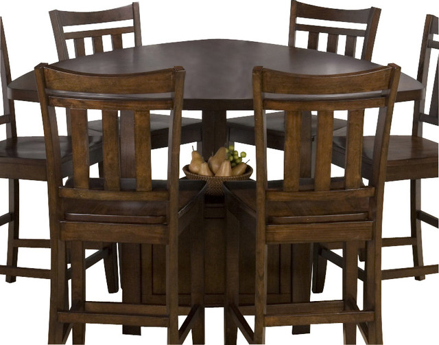 Jofran boynton brown 54x54 triangle counter height table dining tables by efurniture mart - Triangle counter height dining set ...