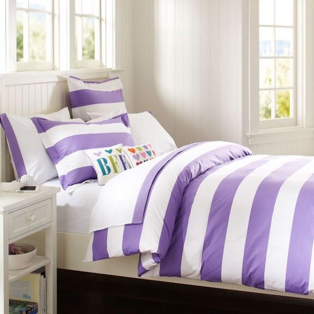 Cottage Stripe Duvet Cover + Sham, Purple - Duvet Covers ...