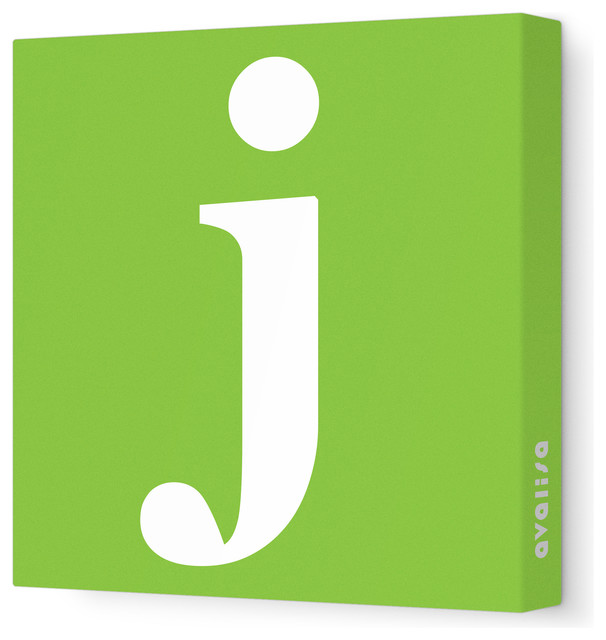 "Letter - Lower Case 'j' Stretched Wall Art, 18"" x 18"", Green contemporary-artwork"