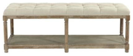 Saverne Tufted Bench Farmhouse Indoor Benches By