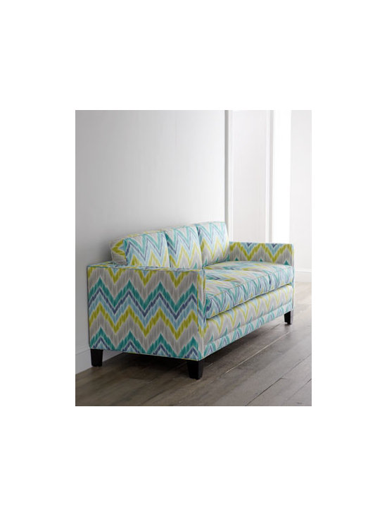 """Haute House - Haute House """"Gypsy"""" Sofa - Exclusively ours. Vibrant pastels in bold chevron stripes add exuberant fun to the clean lines of this contemporary sofa. Handcrafted with hand-painted finish on legs. Alder wood frame. Cotton upholstery. 78.5""""W x 33.5""""D x 27""""T. Seat, 20""""T; arms,...."""