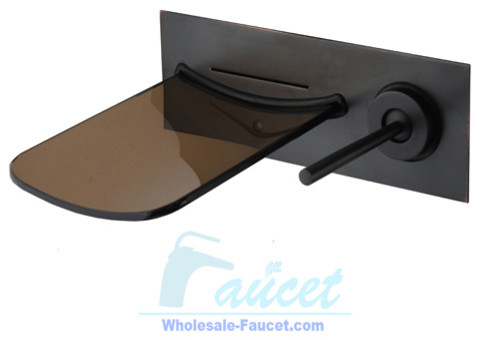 Oil Rubbed Bronze Wall Mounted Waterfall Glass Faucet contemporary-bathroom-faucets-and-showerheads
