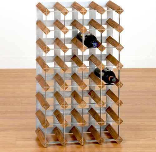 Wood Metal Industrial Wine Rack Contemporary Wine