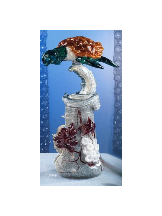 Murano Glass Sculptures and Figurines - Murano Glass turtle on a reef - COA and made to order.  More available so please contact us