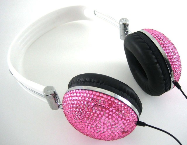 Pink Crystal Rhinestone Bling DJ Over-Ear Headphones eclectic-home-electronics