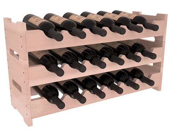 18 Bottle Mini Scalloped Wine Rack in Redwood with White Wash Stain + Satin Fini -