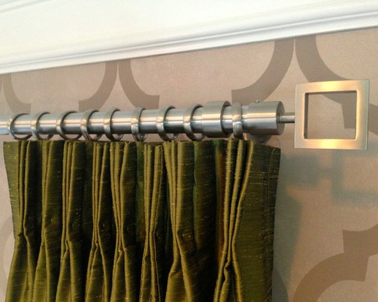 Hardware - A simple one inch diameter stainless steel rod works perfectly in this client's study.