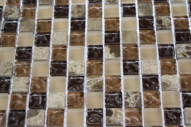 BARREL BROWN BLEND 1/2X1/2 MARBLE & GLASS TILE contemporary-tile