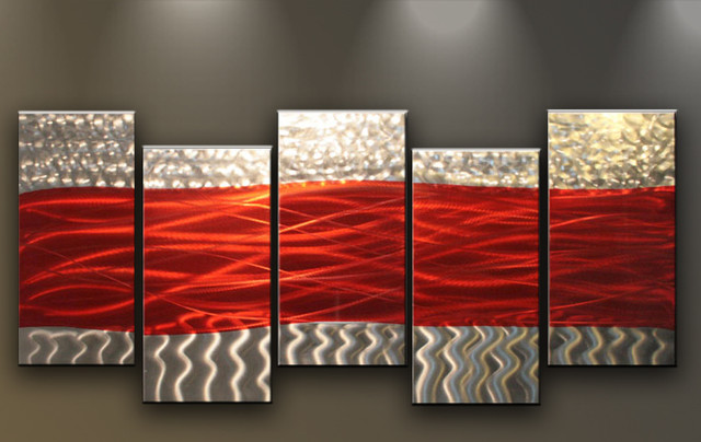 Metal Wall Art Abstract Sculpture 5 panels Red Silver Waves contemporary-artwork