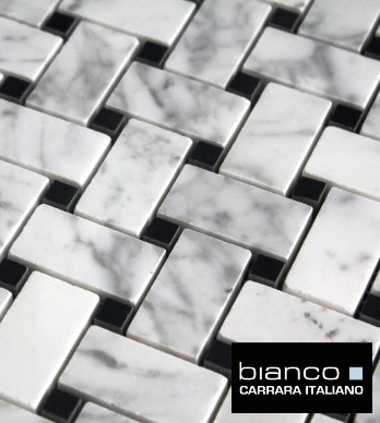 $11.75SF Carrara Bianco Basketweave Honed Marble Mosaic Tile traditional floor tiles