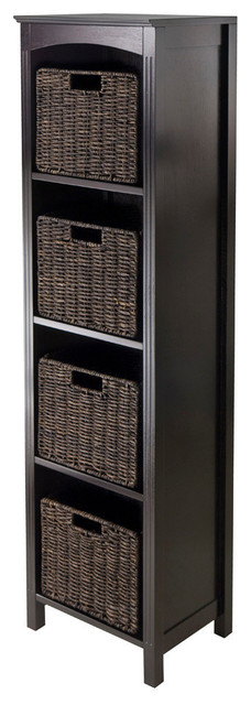 Winsome Wood 5 Piece Storage 5-Tier Shelf w/ 4 Small Baskets contemporary-display-and-wall-shelves