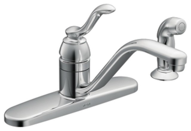 Moen 87528 Banbury Single Handle Kitchen Faucet With Sidespray In Chrome Traditional Kitchen