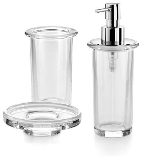 saon bathroom accessory set in clear glass contemporary