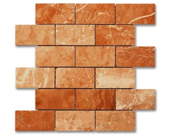 Rojo Alicante polished 2x4 Brick pattern stone mosaic - Rojo Alicante polished 2x4 stone brick pattern mosaic.